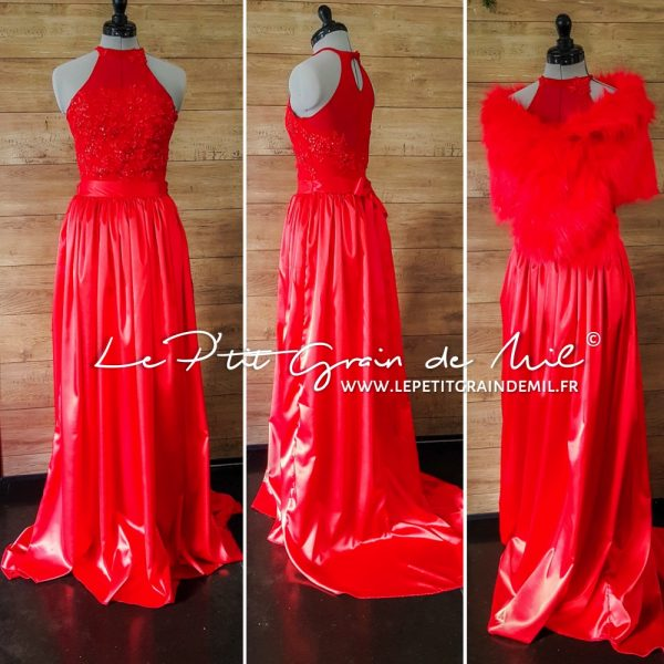 robe de soirée mariage ado femme rouge top body en dentelle jupe en satin