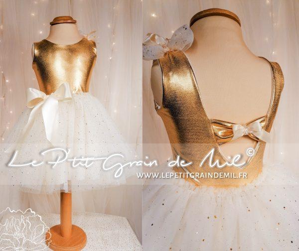 robe mariage enfant or et ivoire fillette cérémonie cortege