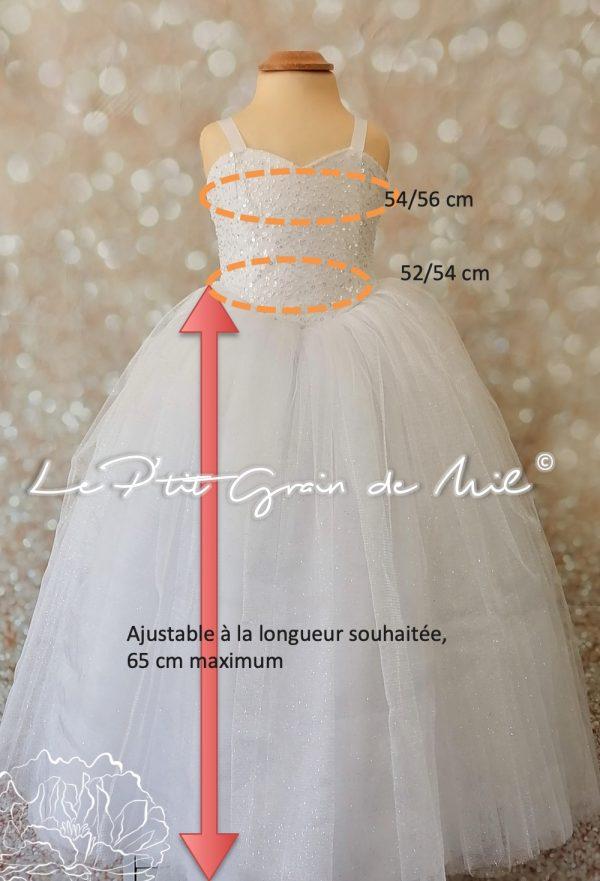 robe de cérémonie princesse enfant paillettes blanche 4 5 ans tulle