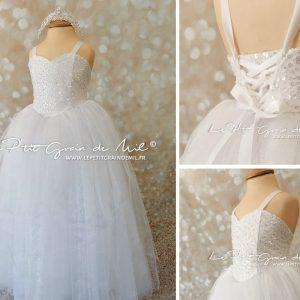 robe tutu de princesse mariage cérémoniqe petite fille 4 5 ans paillettes