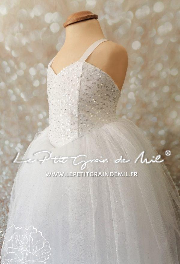 robe tutu princesse mariage cérémonie enfant 4 5 ans paillettes blanche tulle