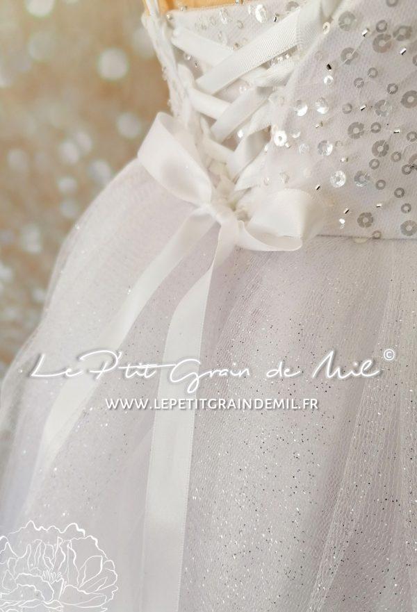 robe tutu princesse mariage cérémonie enfant paillettes blanche 4 5 ans tulle